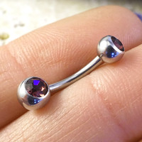 Simple Silver Purple Tanzanite Belly Button Ring Jewelry