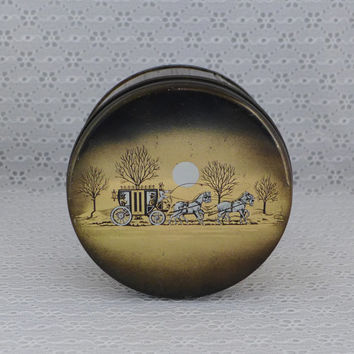 Vintage Tin, Stagecoach, Winter Scene, Horses, Victorian, Gold, E Cherry Sons, Cherrydale Farms Candy Cashew Butter Crunch Collectible
