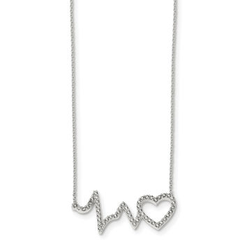 Sterling Silver Polished CZ Heartbeat 18in Necklace QG4367