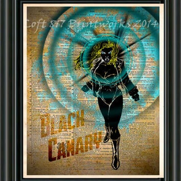 Black Canary - Green Arrow art print  - Retro Super Hero Art - Dictionary print art