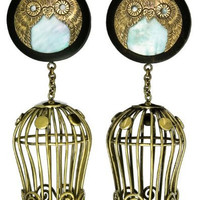 Black Wood Owl Plugs with Shell Inlay and Dangling Cage