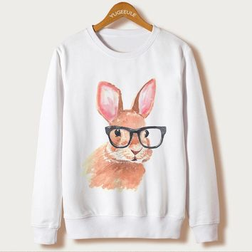 Animal Rabbit Print Sweatshirts Full Sleeve O-Neck White Kawaii Hoodies New Fashion Sweatshirts Autumn Harajuku Loose Pullovers