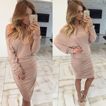 Khaki Off-Shoulder Long Sleeves Ruched Dress