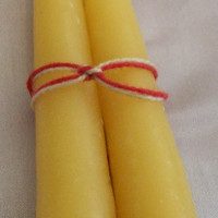 Hand Dipped Unscented Mini Beeswax Taper Candles set of 2
