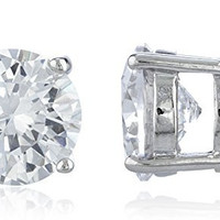 Silvertone Magnetic Earrings with Clear Cz Round - 4mm to 12mm