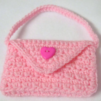 Crocheted Girls' Purse Pink Textured Flower Girl
