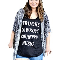 Trucks, Cowboys, Country Music Tank Top, Black  (Size L)