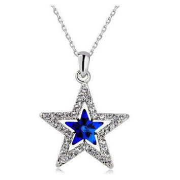 Austrian Crystal Moon Star Pendant Necklace
