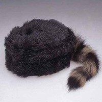 Faux Coonskin Daniel Boone Cap With real Coon Tail 14296