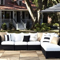 BUILD YOUR OWN - PALMETTO ALL-WEATHER WICKER SECTIONAL COMPONENTS - BLACK
