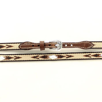 M&F Western Woven Aztec Concho Brown Leather Hat Band