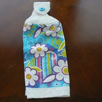 Darling Daisy Hanging Kitchen Towel With Hand Knit Button Closure