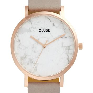 CLUSE 'La Roche' Leather Strap Marble Watch, 38mm | Nordstrom
