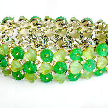 Kramer Bracelet Green Moonglow Rhinestone Vintage Jewelry High Fashion Designer Collectable Jewelry Green Moonglow Bracelet Spring Summer