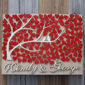 3D Wooden Personalized Wedding Guest Book
