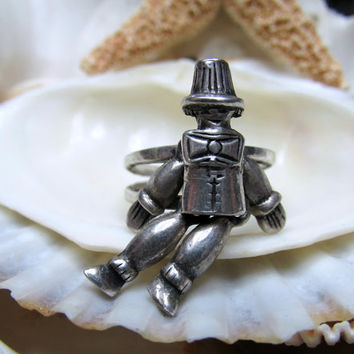 Wizard of Oz Scarecrow Ring Sterling Silver Movable 3D SZ6