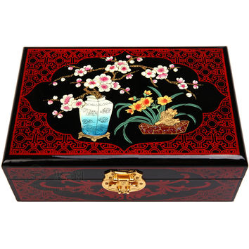 Jewelry Box Chinese Handmade Vintage Wooden Lacquer & Embroidery Double Layer Jewelry Boxes Gift Set