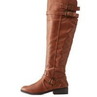 Cognac Triple-Belted Riding Boots by Qupid at Charlotte Russe