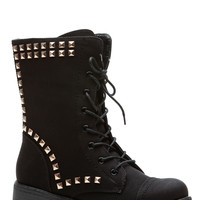 Black Stud Queen Faux Leather Lace Up Combat Boots