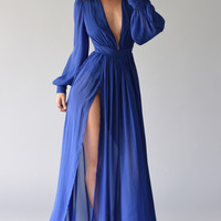 Plunging Neck Slid Maxi Dress - Royal Blue