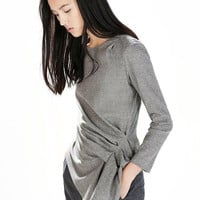 Grey Wrap and Twist Front Top