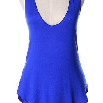 Solid Color Curved Hem Tank Top