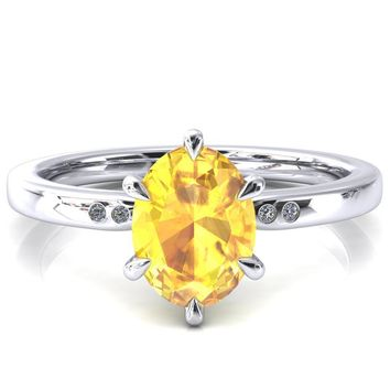 Maise Oval Yellow Sapphire 6 Prong Diamond Accent Engagement Ring