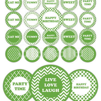 GREEN Cake and Cupcake TOPPERS Printable | Rainbow Collection | Mix & Match Party Decorations | Instant Download | Siskale