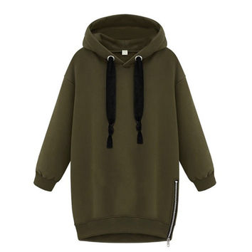 Autumn Zanzea Womens Long Sleeve Hooded Loose Casual Warm Hoodie Sweatshirt Plus Size S-5XL Army Green