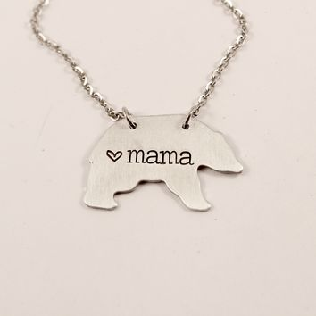 """Mama Bear"" Necklace - Bronze, Copper, or Aluminum"