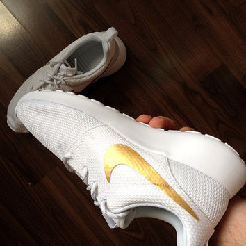 9.5 US Ready to ship! Womens Nike Roshe Run White with Custom Gold Swoosh Paint.