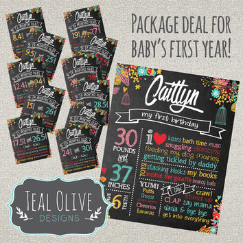 Monthly Milestone Posters for FIRST YEAR - 11 monthly posters plus first birthday sign - Chalkboard sign - Birthday Sign - Monthly Sign