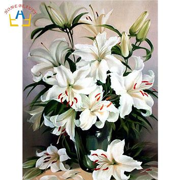 lily flowers pictures coloring by numbers on canvas for the kitchen wall home decoration