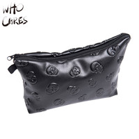 Who Cares Leather skull Women Portable Type Bags Zipper Cosmetic Bag Storage Make up Bag Organizer Travel Toiletry Makeup Bags