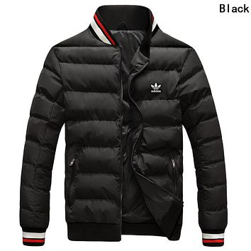 Adidas Winter Trending Men Women Stylish Print Zipper Cardigan Couple Cotton Jacket Coat Windbreaker Black