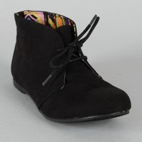 Qupid Shuffle-01 Lace Up Round Toe Ankle Bootie