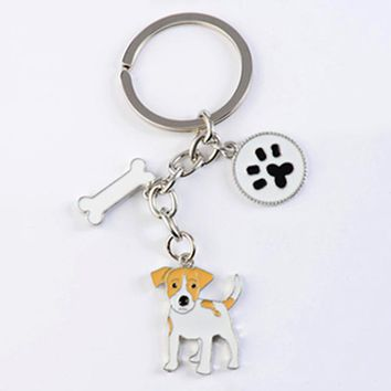 Jack Russell Terrier key chains for women men girls silver color metal alloy dog pendant bag charm car keychain key ring holder