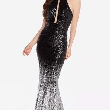 Alyce 60034A Sequin Ombré Dress with Caged Back