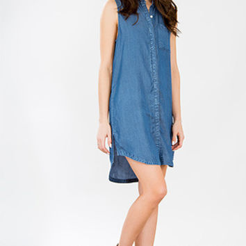 Junior Luxe Chambray Tunic Dress