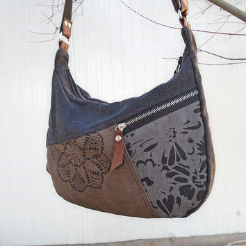 Black Waxed canvas crossbody purse, canvas hobo bag, waxed fabric, brown and gray bag, zipper shoulder bag, smaller hobo bag, cotton day bag