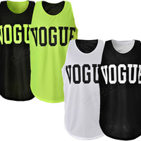 New VOGUE Print Reversible Mesh Tank Top Vest Sleeveless Neon Green Black White