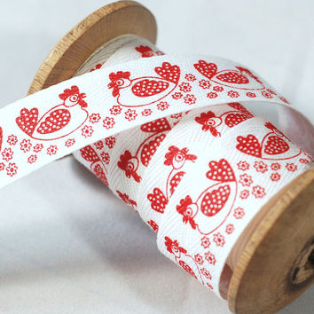 Red Chicken motif printed white Ribbon - Sold by meter - craft sewing quilting toy making bunting decoration