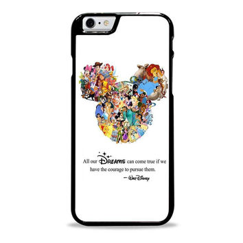 Walt Disney Quote case Mickey Mouse case Character Montage Iphone 6 Plus Cases