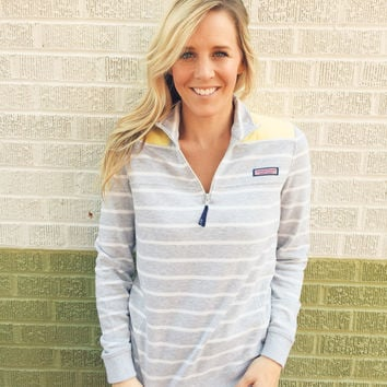 Vineyard Vines Striped Shep Shirt- Heather Grey