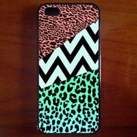 Mint and Coral Leopard Skin and Mint Chevron , iPhone 5 Case , iPhone 5s Case , iPhone 4 , iPhone 4s Case , iPhone 5c ,Samsung Galaxy S4