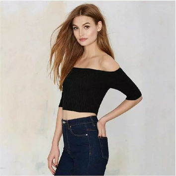 Strapless Knit Tops High Rise Crop Top Half-sleeve T-shirts [4918709892]