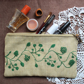 Embroidered canvas cosmetic bag, leather, unique gift, Pocket for mobile phone