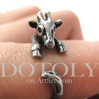 Dotoly | Miniature Baby Giraffe Ring in Silver Sizes 4 to 9 available | Online Store Powered by Storenvy