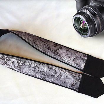 Map Camera Strap. Photographer Gift.  Padded  Camera Strap. Gift For Men. Accessories