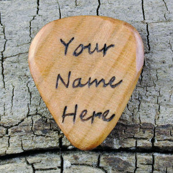 PERSONALIZED ENGRAVING on a Wooden Guitar Pick - (Your Name Here) Design or Other Designs Available